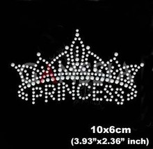 15pcs/lot New princess crown design rhinestone motif Hotfix rhinestone for garment Iron on heat transfer diy patches(ss-6002)(China)