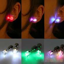 One Pair Light Up Led Stainless Steel Earrings Studs Dance Party Accessories for Xmas New Year Men Women Sale 1NST