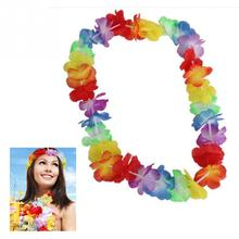 10Pcs/set NEW Hawaiian Colorful Beach Theme Luau Party Flower Necklace Garlands Fancy Dress For DIY Party Decoration(China)