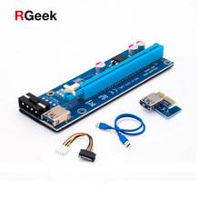 Синий 60 см PCI Express 1X к 16x pci-e Riser Card USB 3.0 4PIN IDE удлинитель кабеля molex Питание для btc шахтера(China)