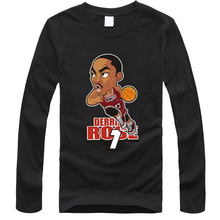 New cartoon Derrick Rose Josh Smith t shirt Men's fashion O neck long sleeve cotton t-shirts free delivery