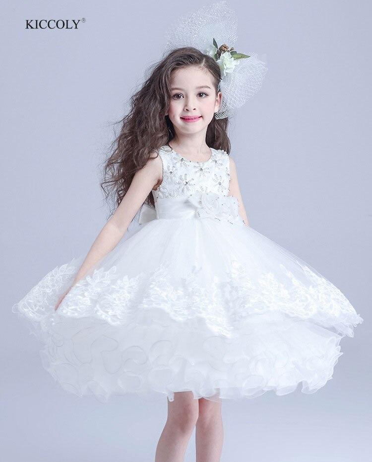 2018 Elegant Summer White Girls Dress Wedding Flower Girl Dresses First Communion 3D Flowers Dresses Baby Girl Clothes 3-14Y<br>