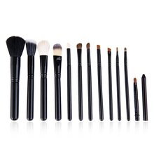 cosqueen 12 Pcs Soft Makeup Cosmetic Blush Goat Hair Brush Eyebrow Foundation Powder Barrelled Brushes Middle Brush Black Color2(China)