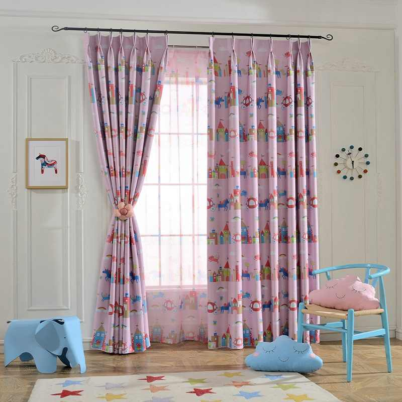 Pink Purple Cartoon Curtains Girl Princess Children Kids Room Tulle Curtains For Windows Bedroom Drapes