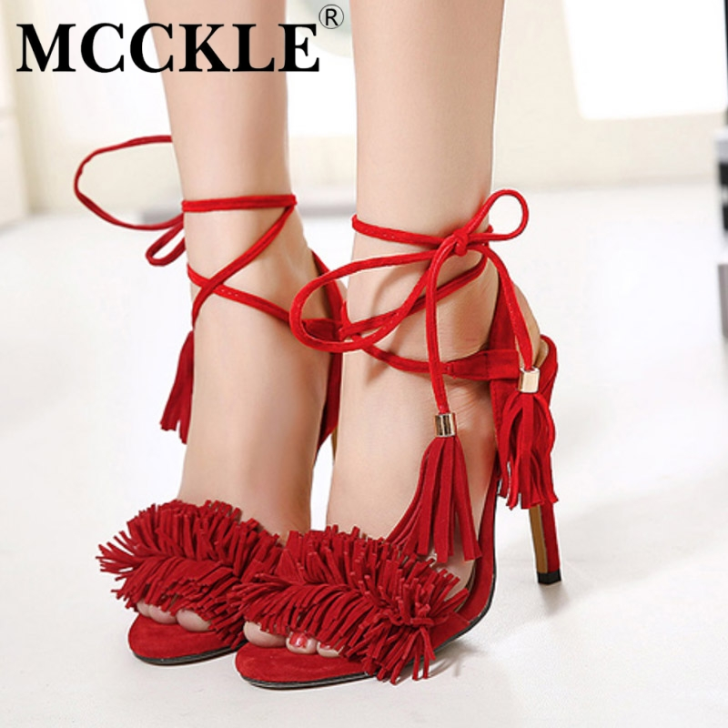 MCCKLE Women fashion Shoes Gladiator High Heel Sandals 2017 Brand Tassels Sandlias Blue Red Sexy Ladies Shoes size 35-40 Z1216<br><br>Aliexpress
