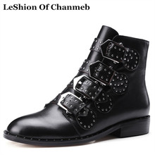 Real Cow Leather Rivet Punk Boots Women Muti-Buckled Rock Ankle Boots Low Heel Motorcycle Boots Woman Stud Booties Female Shoes(China)