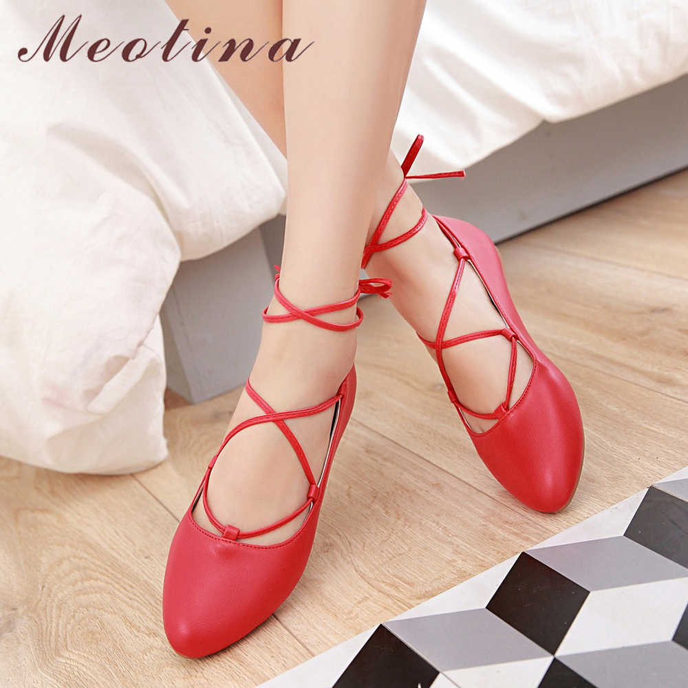 Meotina Ballet Flats Women Shoes Ankle Strap Boat Shoes Cross tied Pointed  Toe Ladies Flat Shoes 45fb23a9623c