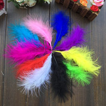 100pcs random colors 10-15cm Marabou Feathers goose down Fluffy(China)