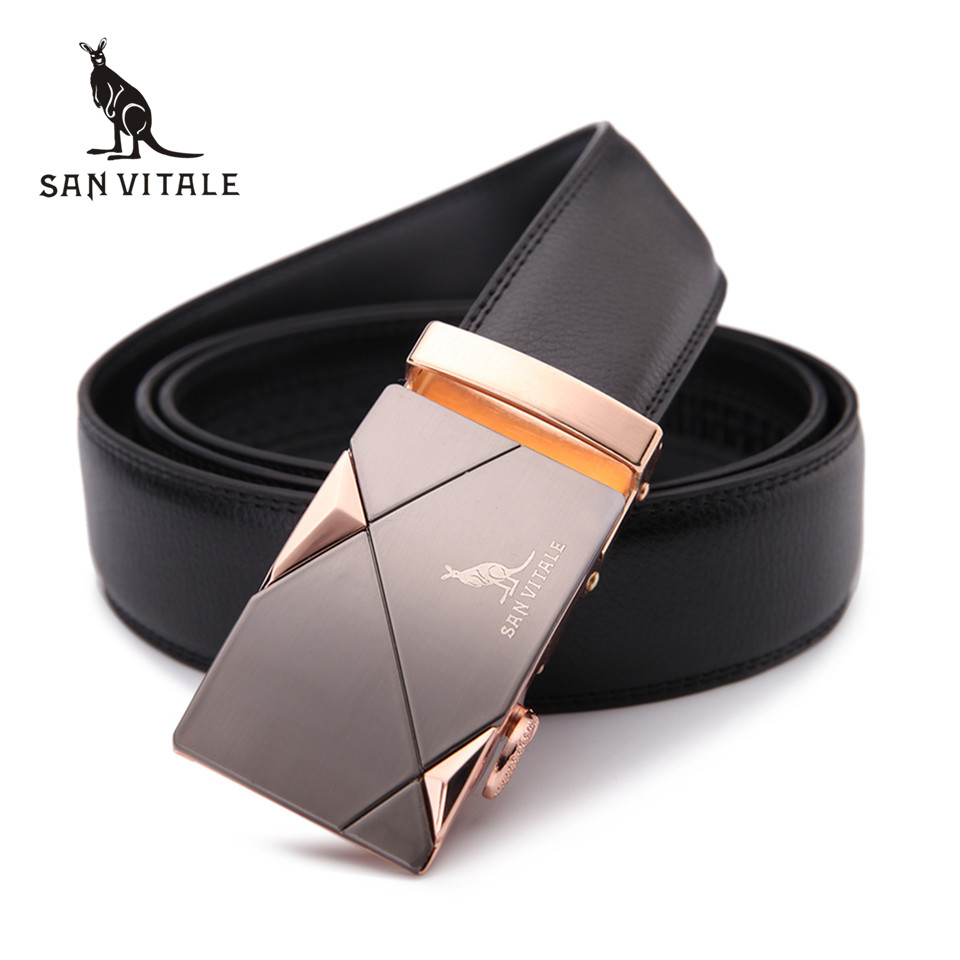 2017 men s belt fashion 100 Genuine Leather mens belts for men High quality metal automatic