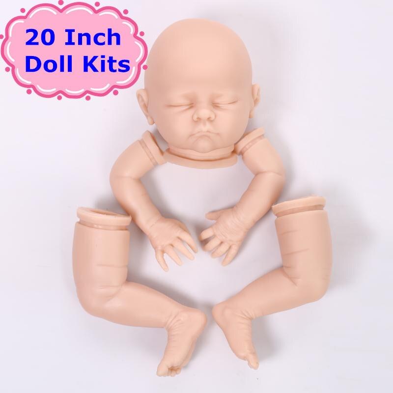 New NPK 20Inch Silicone Vinyl Reborn Doll Kits With 3/4 Limbs Hot Doll Reborn Accessories Vinyl Blank Kit To DIY A Reborn Doll<br>
