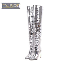 MLJUESE 2018 women over the knee high boots zippers silver color pointed  toe thin heels fashion nightclub high boots size 33-43 32a9fa9e7256