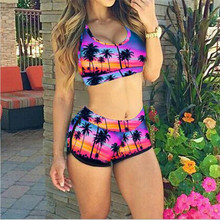 2016 New Europe and The Detonation Model Printing Two-piece Swimsuit High-waisted Bikini Female Fission Coconut Bikini