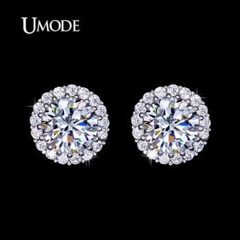 Umode hearts & arrows ideal cut cubic zirconia de la manera de cristal stud pendientes de joyería de las mujeres envío de la gota 2016 ue0096
