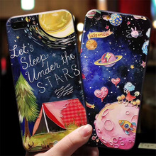 Starry space universe 3D Relief phone Cases for iphone 7 7Plus 8 8plus soft silicon Case For iphone 6 6s 6splus back cover(China)