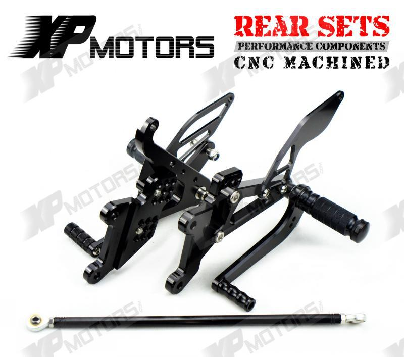 Race Adjustable Foot pegs Rearset Footrests Rear Sets For Yamaha YZF-R6S 2006 2007 2008 2009 Black<br><br>Aliexpress
