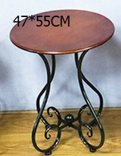 Ou, wrought iron wood coffee table. The balcony leisure small round table. The sofa corner. Small tea table.