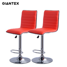 GIANTEX 2pcs Red PU Leather Modern Adjustable Bar Stool Swivel Chair Bar Chair Commercial Furniture Bar Tool HW50134
