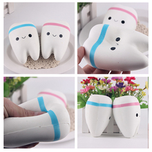 New 10cm Kawaii Tooth Jumbo Squishy Slow Rising Phone Straps Cartoon Teeth Blue/Pink Tooth Bread for Phone/Mp3/Bag Charm Strap
