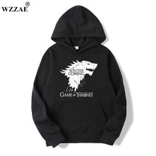 WZZAE 2017 New Game of Thrones Direwolf Men Hoodies And Sweatshirts Winter is Coming Cotton Hooded Top Quality Plus Size M-XXXL(China)