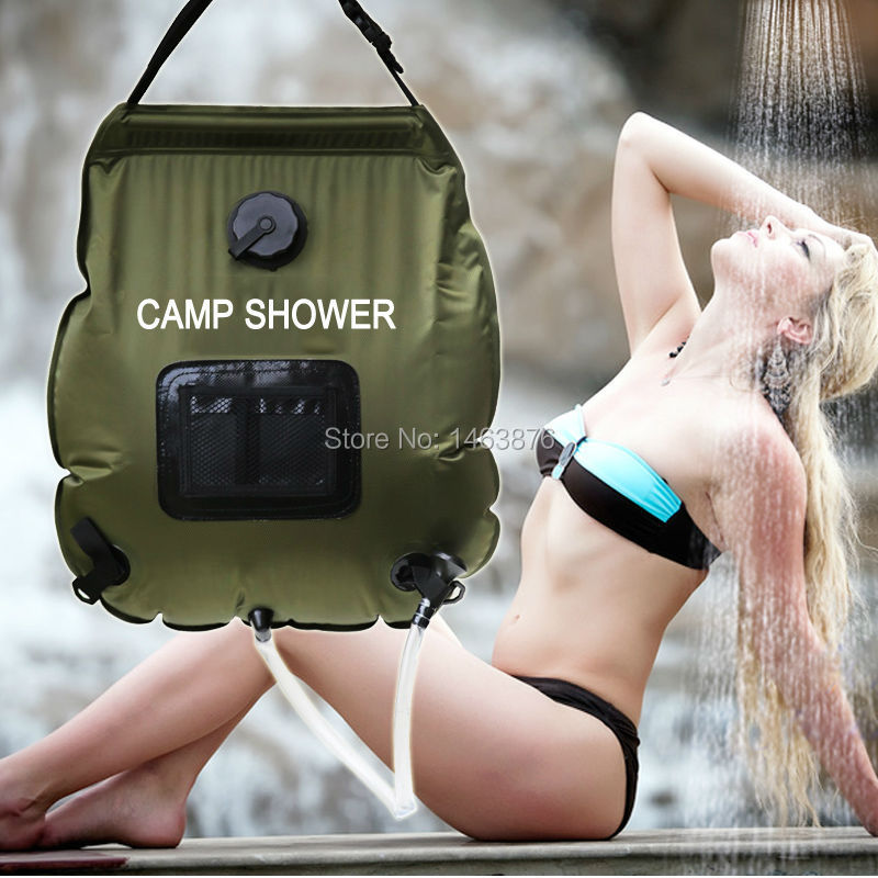 camp shower  Water Bag 20L portable Outdoor with thermometer 2016 new shower bag Solar Shower  Camping showers free shipping<br><br>Aliexpress