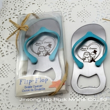 100pcs Personalized Guest gift of wedding favors and gifts --Groom and Bride name show on the Top Flip-Flop Bottle Opener(China)