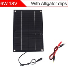 ELEGEEK 6W 18V Semi flexible Solar Cell Panel with DC Output + Crocodile Clip 250*170mm Mini Solar panel for DIY and Education