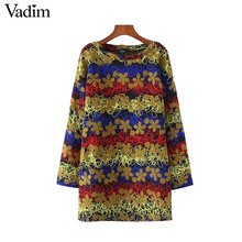Vadim women vintage floral embroidery loose dress long sleeve warm retro ladies thick winter autumn casual mini vestidos QZ3242(China)
