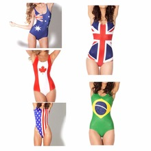 2017 New Arrival 5 Patterns Sexy Women One Piece Swimwear Bathing Suit National Flag Print Swimsuit Free Shipping Z054