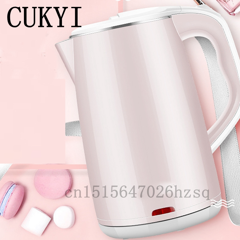CUKYI Quick heating Electric Kettle Stainless Steel Inwall Safety Auto-Off Function 1.8L big capacity 1500W,pink nlue<br>