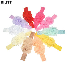 30pcs/lot Bulk Price Elastic Lace Headband with Double Chiffon Fabric Flower Kids Baptism Headwear 25 Colors for Choose FD255