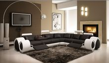 Sofas for living room leather corner sofa Recliner leather sofa set with genuine leather black&white(China)