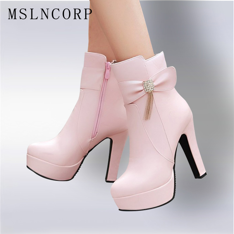 Size 32-43 New Classic Brand Women sexy High Heels Pumps Zip Short Plush Evening Party Ankle Boots Bowtie Platform Wedding Shoes<br>