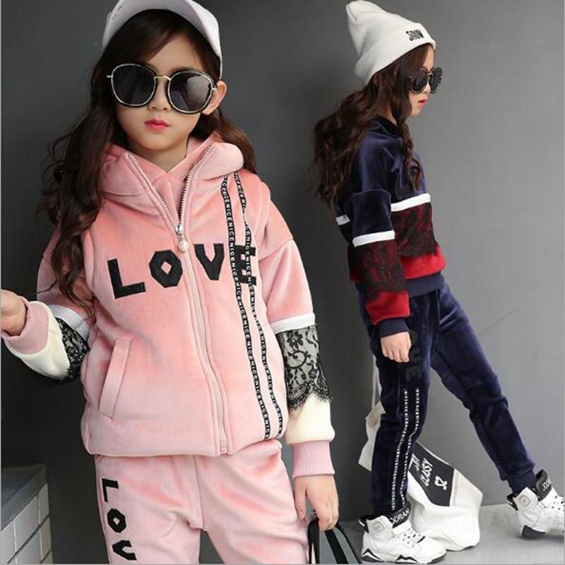 Children s clothing 2017 winter new Korean girls suits children in the large children s cotton three - piece suit <br>