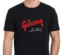 Gibson Les Paul Model Logo Men's T-SHIRT High Quality European Size Summer Style FashionLetter Printed O-neck Cotton T-shirt