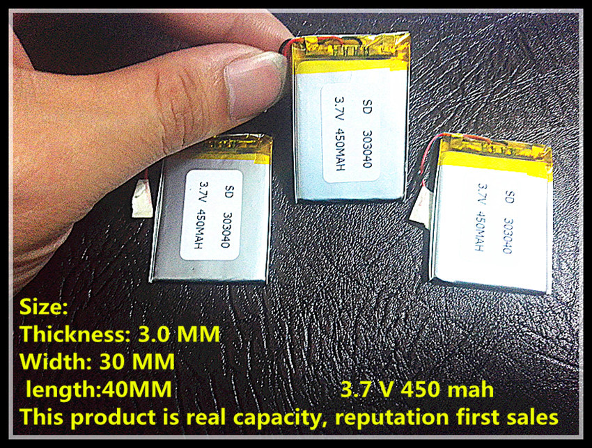 China supplier shenzhen factory OEM 303040 3.7v lipo rc battery 450mah for rc li polymer small helicopter,GPS,MP3,MP4,tools(China (Mainland))