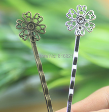 15mm Blank Bobby Pins Base Settings Hollow Filigree Flower Pads Hairwears Hair Clip Hairpins Crafts Findings Silver/ bronze tone