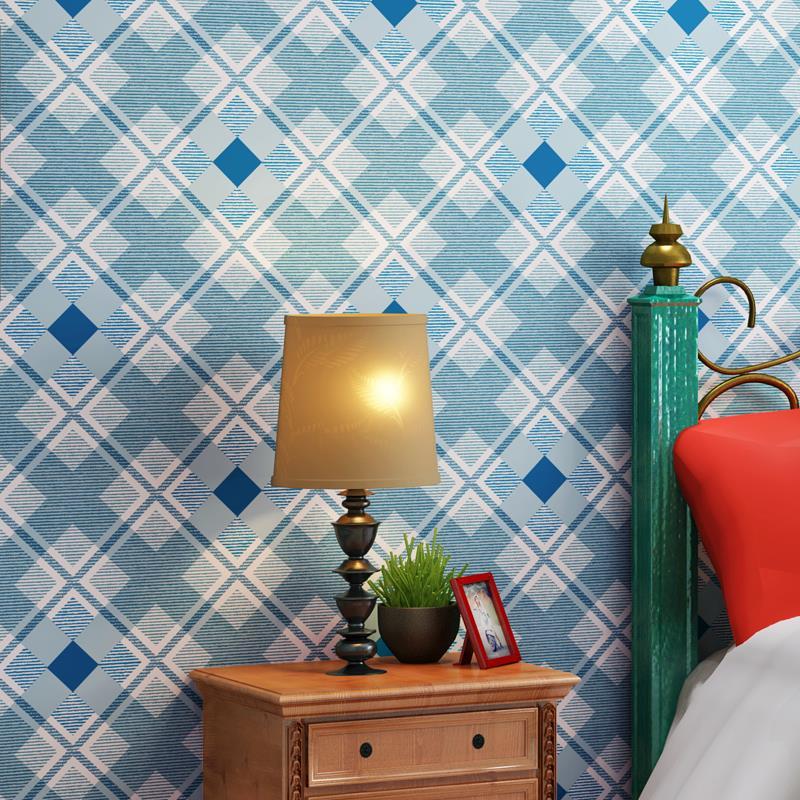 Modern blue grid non-woven wallpaper bedroom living room childrens room<br><br>Aliexpress
