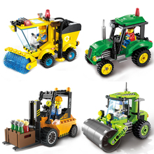 ENLIGHTEN 5 Style City Construction Road Roller Tractor Sweeper Truck Building Block Kids Toy Compatible lepin
