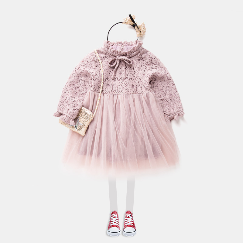 Maggies Walker girls Princess cotton lace Dress Girls with cashmere yarn and fluffy dress gilrs brim long sleeved sweet dress<br>