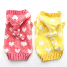 Small Dog Cat Sweater Jumper Hearts Jacquard Hoodie Cat  Puppy Coat Jacket  Warm Clothes 6 sizes