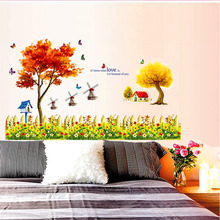 1PC 175*135CM Beautiful Butterfly Decoration Lovely Windmills Orange Yellow Maple Trees Autumn Scenery Home room Wall Sticker