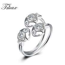 TengMaxi 925 Sterling Silver Finger Ring for Lady CZ Zircon Exquisite Three Fish Women Wedding Engagement Free Size Ring jewelry(China)