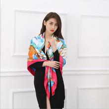 Lightly  Twill Silk Women Scarf 140*140 cm Design Floral Print Square Great Scarves High Quality Gift Shawls