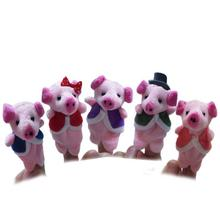 2017 New 5pcs Animal Pink Finger Puppet Plush Child Baby Early EducationToys Gift Hand Puppet ToyJouet Enfant Lowest Price