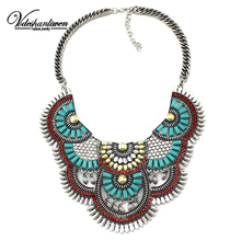 Vodeshanliwen 2016 Hot sale Brand Metal Chokers Necklaces colorful Chunky Pendant Fashion Bohemian Woman Statement Necklace