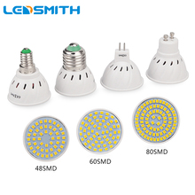LEDSMITH E27 E14 MR16 GU10 Lampada LED Bulb 220-240V Bombillas LED Lamp Bulb Spotlight 48 60 80 LED 2835 SMD Lampara Spot Light