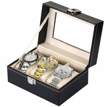 2017 PU MDF 3-Grid Jewelry Watch Display Storage Box Watches Storage Box Black High Quality EG442