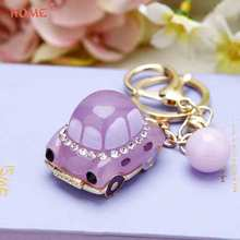 Lady Pendant Crystal Car Keychain Key Car Key Holder for Hyundai BMW KIA Benz SAAB Skoda Chrysler LADA Dodge Subaru Audi Tesla(China)