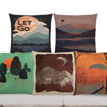 Decorative Cushion Covers Bear Wolf Wild Bonfire Sofa Pillow Case Forests Night Mountains Exploration Camp Aurora Cushion Cover