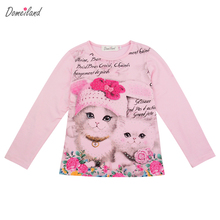 2017 fashion spring brand domeiland children clothing kids girl long sleeve print 3d cat cotton t shirts tops baby clothes(China)